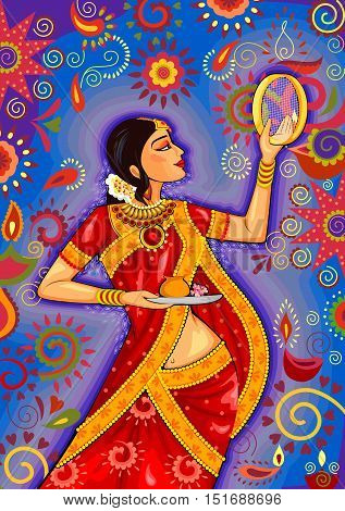 Vector design of Indian woman looking through sieve during Karwa Chauth celebration