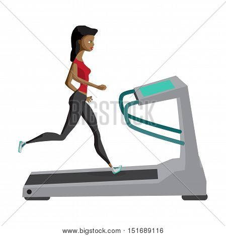 Black woman running on treadmill sport fitness athletics healthy lifestyle. Cartoon vector illustration flat design