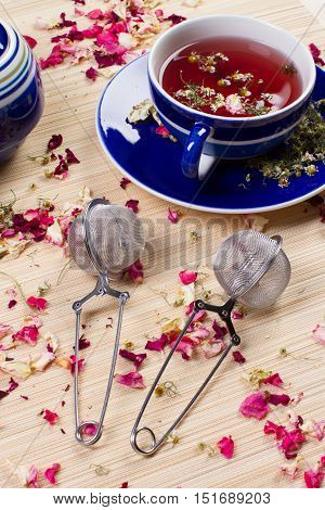 tea, roses tea, chamomile tea, cup, tea infuser, tea set, roses, hot drink, beverage