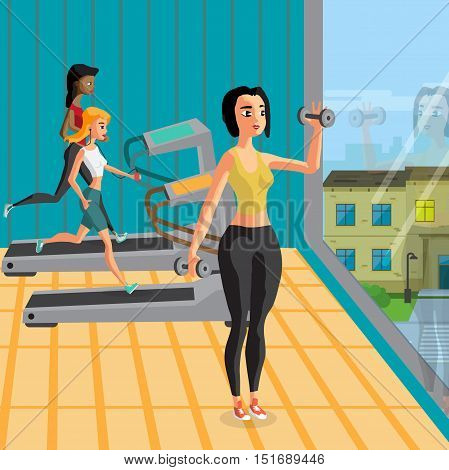 Group of young women exercising with dumbbells and running on treadmills in modern sport gym. Girls in club near a large window. Vector flat cartoon illustration