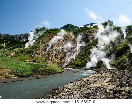 Panorama of Geysers Valley in Kamchatka peninsula Russia