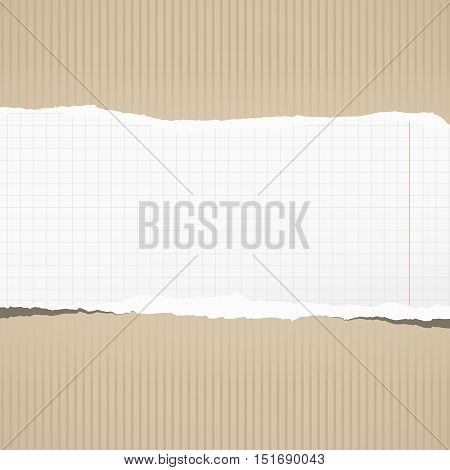 Torn white squared notebook paper with copy space, stuck on striped brown background.