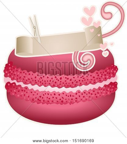 Scalable vectorial image representing a macaroon with design ribbon, isolated on white.