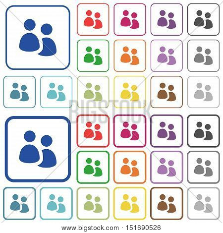 Set of user group flat rounded square framed color icons on white background. Thin and thick versions included.