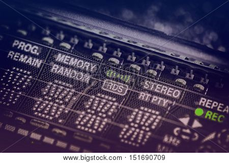 Analog vintage radio vacuum display, close up