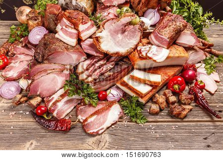 Smoked pork meat products composition, studio shot