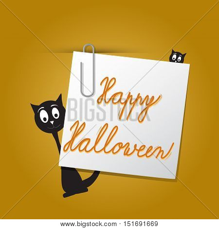Vector Halloween card template on dark orange background. Card concept with paper paperclip and black cat.
