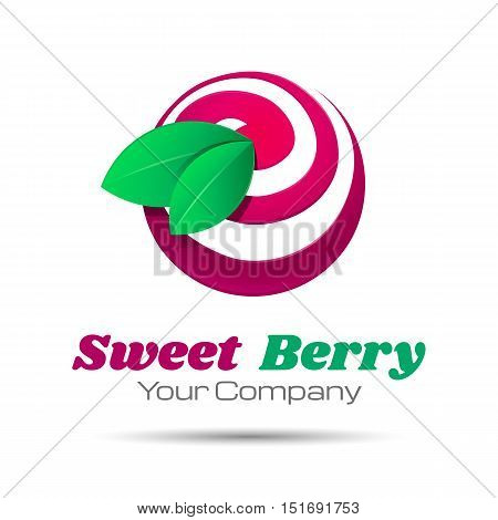 Tasty cherry icon simple elements logo template. Vector business icon. Corporate branding identity design illustration for your company. Creative abstract concept.