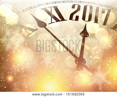 2017 New Year luminous background with clock. Vector illustration.