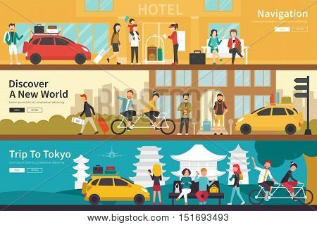 Navigation Discover A New World Trip To Tokyo flat tourism interior outdoor concept web. Career Chart Fun