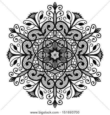 Decorative Lace Round Ornament. Intricate vector flower pattern. Flourish design. Black weave emblem on white background. Luxury floral illustration. Fine forged decoration for pillow, wallpaper, tile