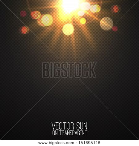 Vector realistic sun on transparent . Abstract warm light and rays with bokeh . Glowing light effect with sparkles and beams . Glowing nature object . Sunshine design . Solar lens flare illustration