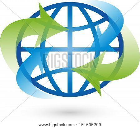 Earth and arrows, movement, globe and world globe Logo