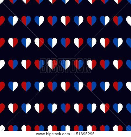 Hearts seamless pattern in USA national colors. Heart background, good for textile, paper print, card, poster, another design. Cute Saint Valentine Day vector illustration, easy to recolor