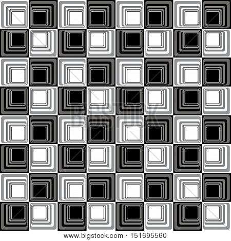 Abstract Modern Illusion Seamless Pattern B&W Vector Illustration