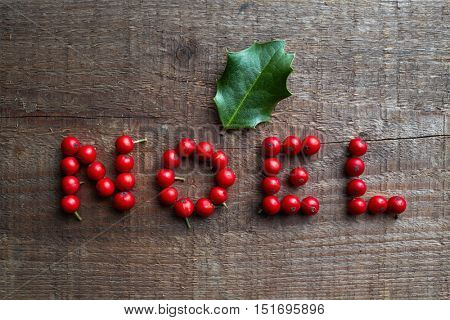 The word NOEL made from holly berries