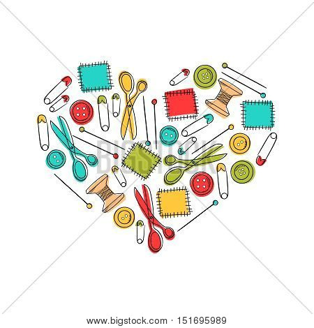 Set of sewing elements patch, scissors, pin, button in heart shape. Background for kid textile, pajama, paper print, card and other design. Hand drawn vector illustration. Sewing theme