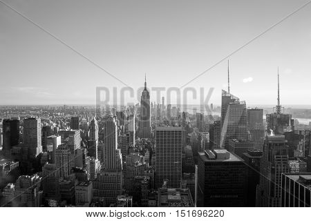 New York USA - September 24 2015: View of New York city and Empire State building from Top of The Rock.