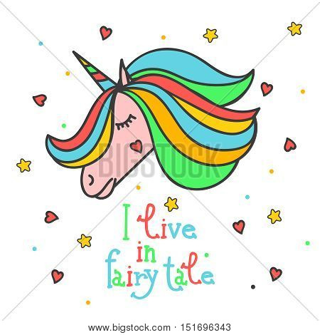 Colorful patch with unicorn, heart, star, in bright rainbow colors. Hand drawn vector Illustration with lettering for kid textile, card, pin, other design. Fashion trend badge. Fairy tale, magic.