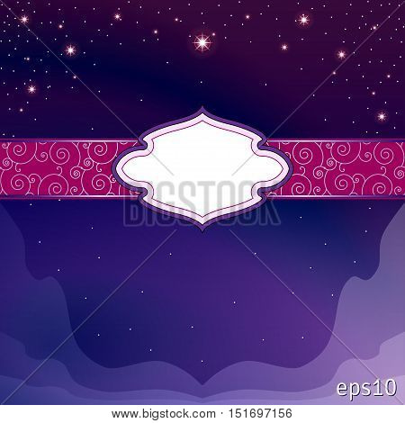 Abstract background with space for caption. The night sky. Oriental flavor. Dark vibrant colors.