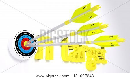 The words on target where the o is a target hit by three yellow arrows textured with project concept 3D illustration