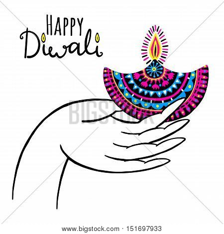Diwali vector illustration with hand and diya lamp. Indian festival of lights