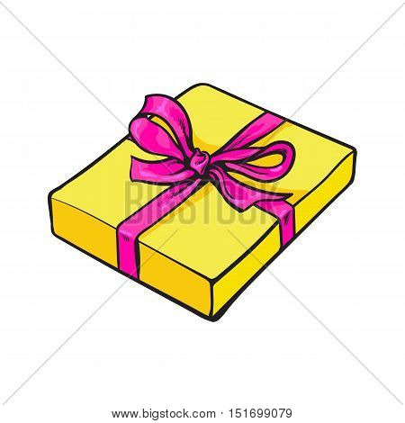 Red hand-drawn rectangular gift box with bow and ribbon, sketch style vector illustration isolated on white background. Xmas, birthday, Valentine present, gift, surprise, decoration element