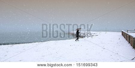 Cecina Marina Livorno Tuscany - snowfall in the seaside town