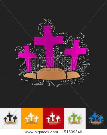 hand drawn simple elements with tombstone paper sticker shadow