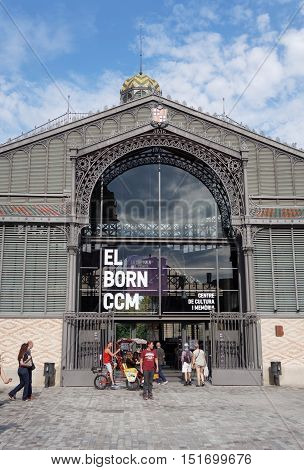 Barcelona, Spain - 25 September 2016: El Born Cultural Memorial Center facade. Housed in a former market with free entrance, it also exhibits an archeological site of Barcelona streets from the 1700s.