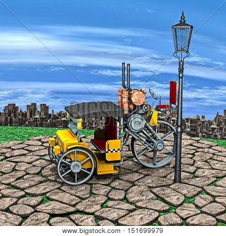 3D rendering of a steam cab-taxi and a lantern on a sky and big city background