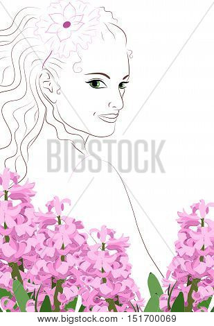 Vector illustration. Girl with decoration in her hair. Pink hyacinths in the foreground.