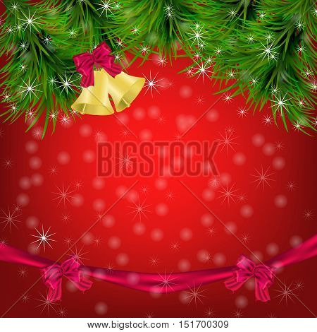 Christmas and New Year Greeting card with fir twigs jingle bells and bow