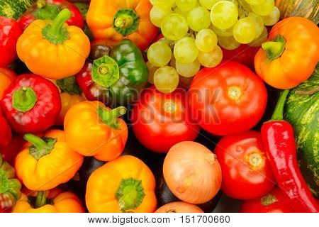 Collection fruit and vegetables background. Useful products for health.