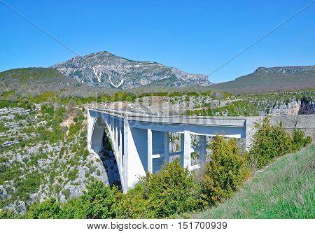Artuby Bridge in Verdon Gorge in Provence,South of France