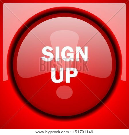 sign up red icon plastic glossy button