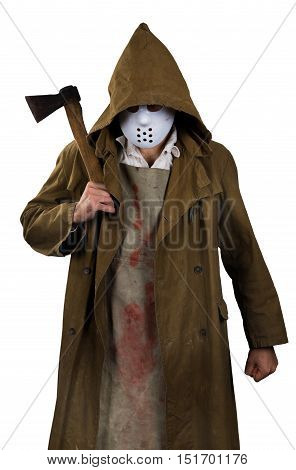 halloween costume - psycho killer with bloody apron and ax in his hands