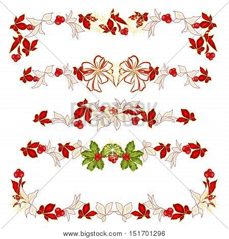 Christmas decoration garlands with white bows and poinsettia set two vector illustration