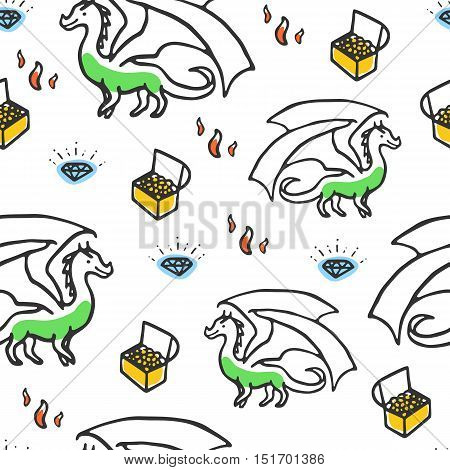 Seamless pattern with dragon and treasures. Cute chikdish illustration. Sweet cartoon smiling dragon with brilliant and gold