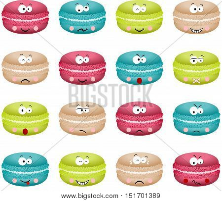 Scalable vectorial image representing a macaroon with feature a different expression, isolated on white.