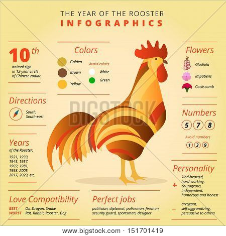 Chinese horoscope infographics with Rooster symbol. Creative new year 2017 sign best for calendars greeting cards posters banners flyers etc. Zodiac vector illustration design