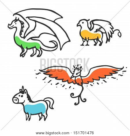 Set of cute little cartoon mythical beasts. Dragon, griffin, unicorn and phoenix. Vector illustration isolated on white