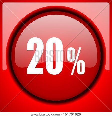 20 percent red icon plastic glossy button