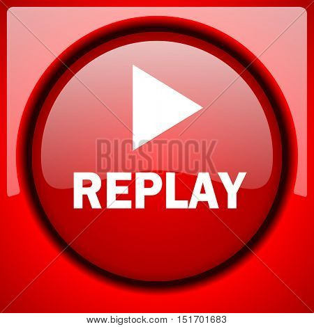 replay red icon plastic glossy button