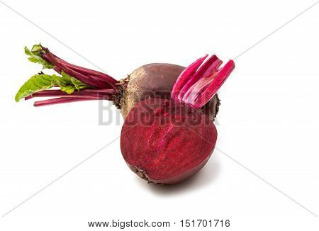 eat red Fresh beetroot isolated on white