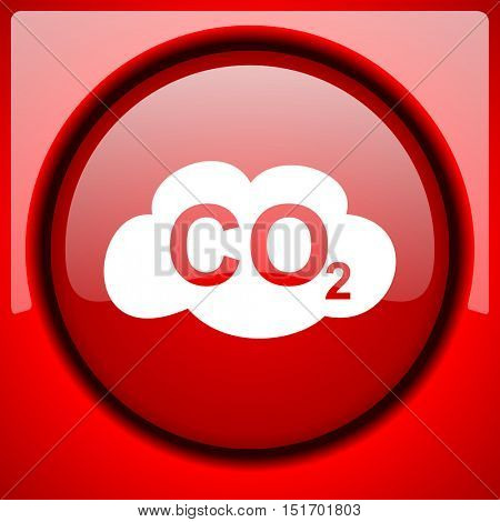 carbon dioxide red icon plastic glossy button