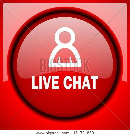 live chat red icon plastic glossy button