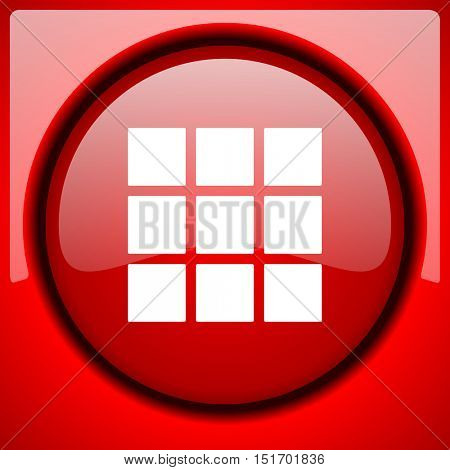 thumbnails grid red icon plastic glossy button