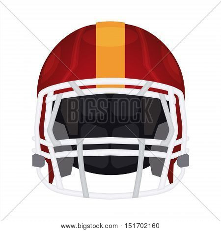 American football helmet icon. Rugby head protection helm with pad facemask and flex shell. Sport equipment vector illustration