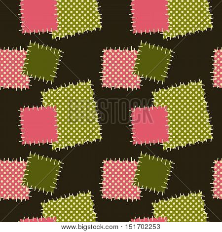 Seamless background with patches. Vector pattern in green and pink colors.